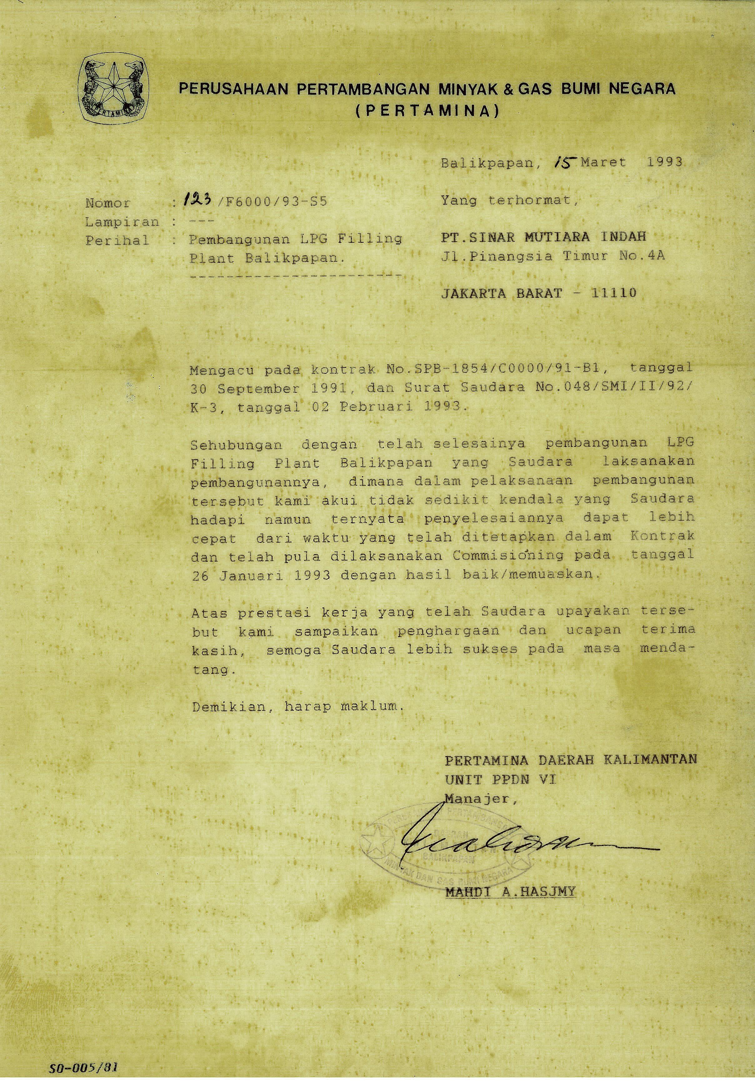 1993 Pembangunan LPG Filling Plant - Balikpapan (PERTAMINA)